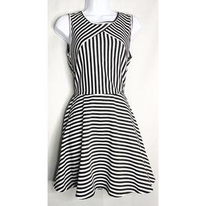 Ruby rox 5 black white stripe mini dress open back